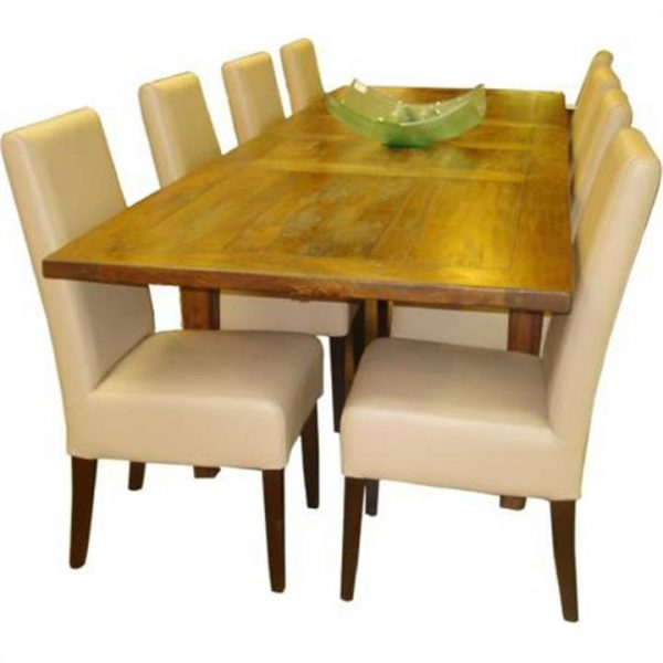 Aars PU Leather Dining Chair (Chair Only) with Light Honey Legs - Pebble