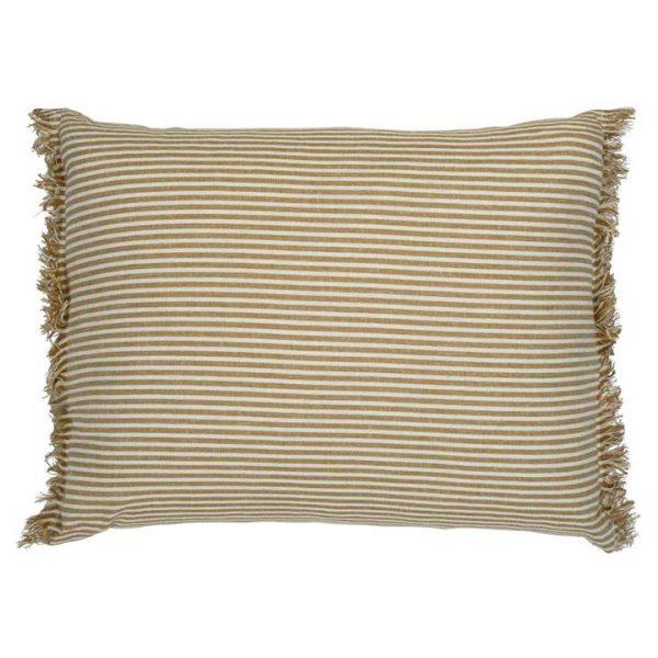 Abby Stripe Fabric Lumbar Cushion, Mustard