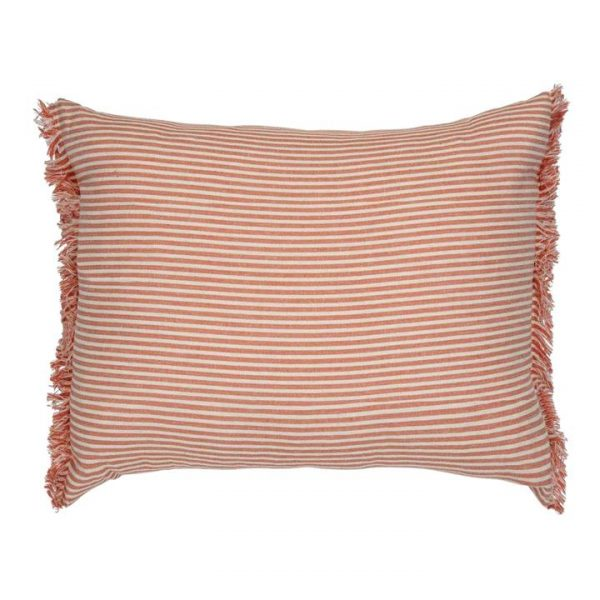 Abby Stripe Fabric Lumbar Cushion, Terracotta