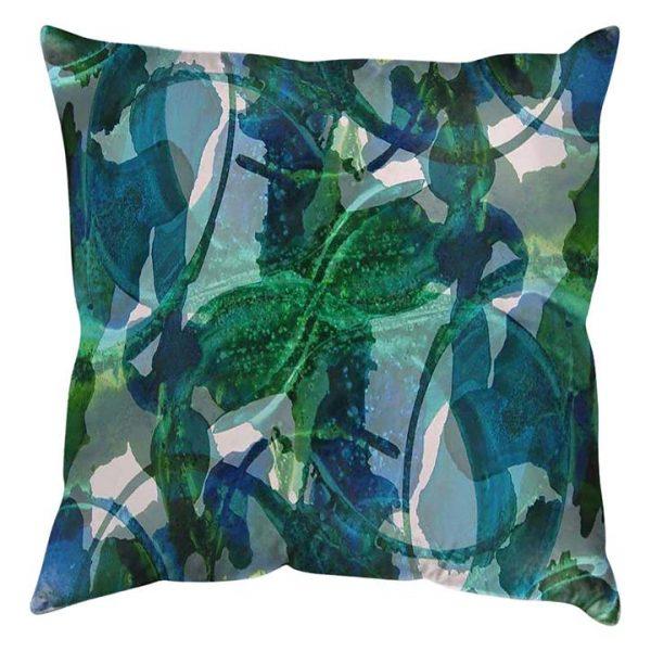 Abstract Blue Green Cushion
