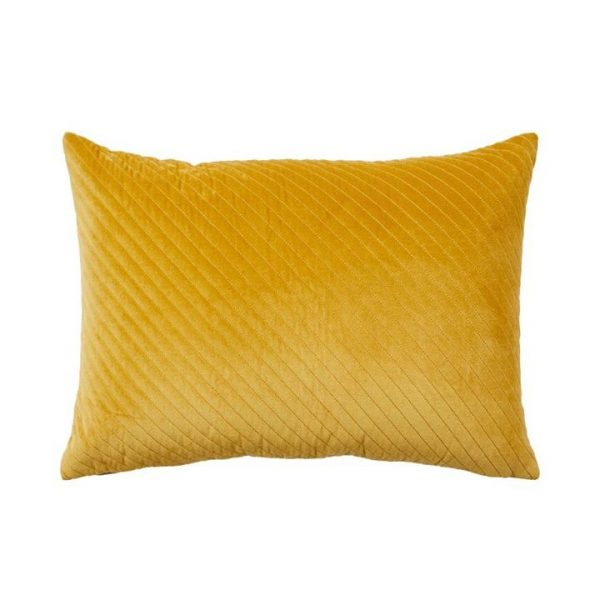 Adairs Bombay Quilted Velvet Cushion Mustard