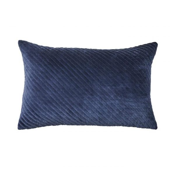 Adairs Bombay Quilted Velvet Cushion Navy