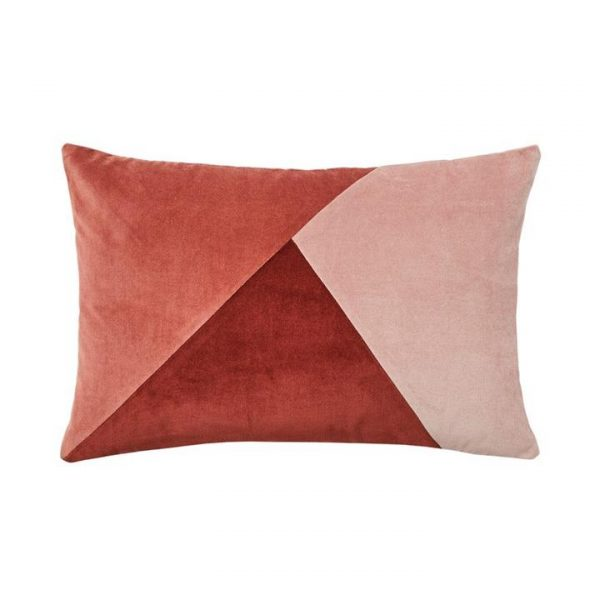 Adairs Bombay Splice Velvet Cushion Rose/Rust/Misty Pink