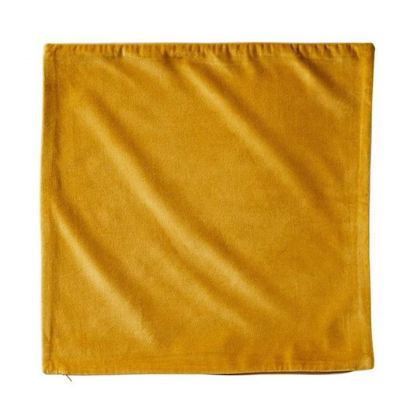 Adairs *Cover Only* Bombay Velvet Cushion Cover 50x50cm Mustard/Natural - Mustardnatural