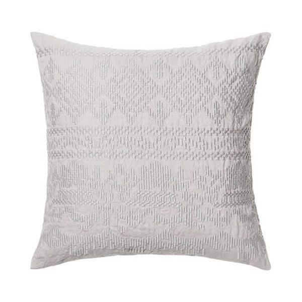 Adairs Madaya Linen Cushion S20 Silver 50x50cm