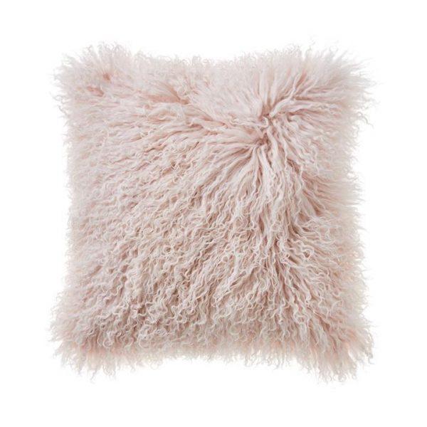 Adairs Mongolian Sheepskin Cushion W20 Blush