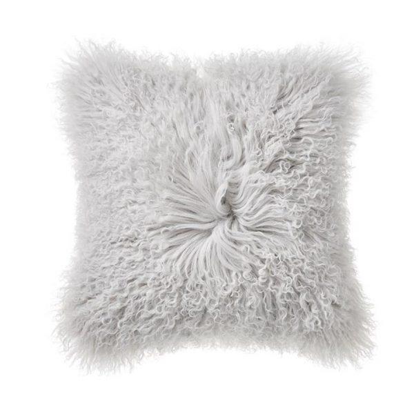 Adairs Mongolian Sheepskin Cushion W20 Silver
