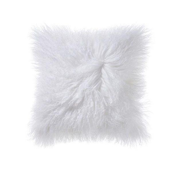 Adairs Mongolian Sheepskin Cushion W20 Winter White
