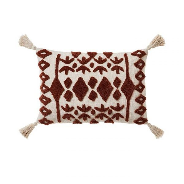 Adairs Red Earth Tufted Cushion Rust/Natural 40x60cm - Rustnatural