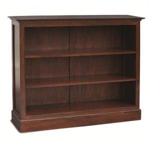 Adolf Mahogany Timber Double Shelf Lowline Bookcase, Mahogany