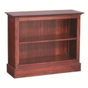 Adolf Solid Mahogany Timber Single Shelf Lowline Bookcase, Mahogany
