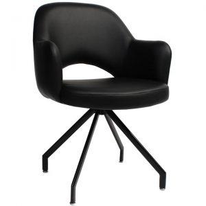 Albury Commercial Grade Vinyl Dining Armchair, Metal Trestle Leg, Black