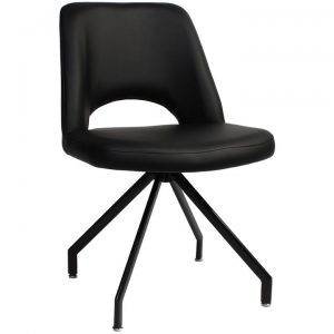 Albury Commercial Grade Vinyl Dining Chair, Metal Trestle Leg, Black