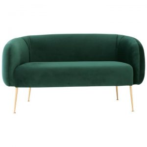 Alero Commercial Grade Veloutine Fabric Sofa, 2 Seater, Dark Green