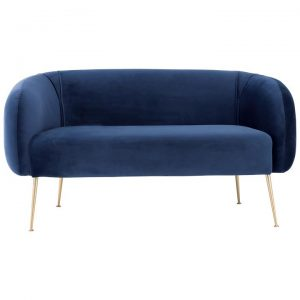 Alero Commercial Grade Veloutine Fabric Sofa, 2 Seater, Midnight Blue