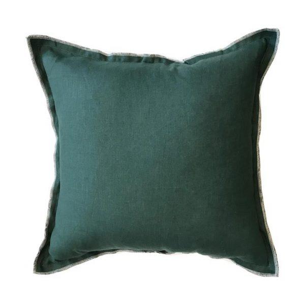 Alessa Linen Scatter Cushion, Forest Green