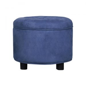 Alex Suede Fabric Round Storage Ottoman, Blue