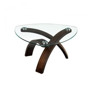 Allure Glass & Cherry Wood Coffee Table