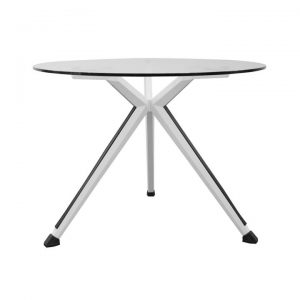Alviano Round Office Meeting Table, 100cm, Glass Top