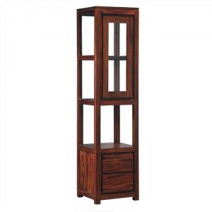 Amsterdam Solid Mahogany Timber 1 Door 2 Drawer Display Cabinet - Mahogany