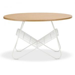 Anna Metal Round Coffee Table, 80cm, Light Oak / White