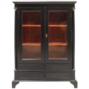 Annonay Hand Crafted Mahogany Display Cabinet, Black