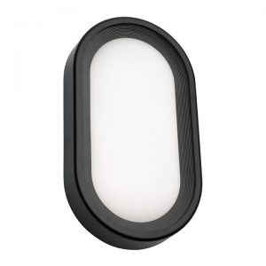 Arena Commercial Grade IP65 Modern Outdoor LED Bunker Light, Oval, Large, Black
