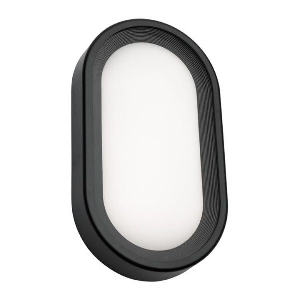 Arena Commercial Grade IP65 Modern Outdoor LED Bunker Light, Oval, Large, Black
