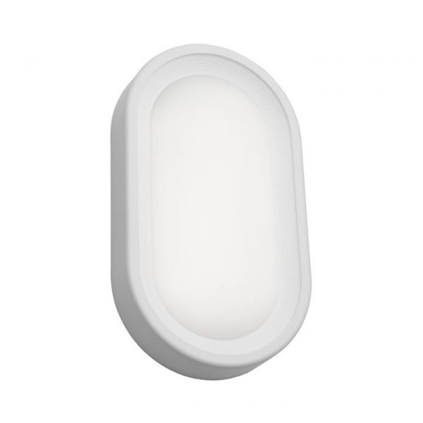 Arena Commercial Grade IP65 Modern Outdoor LED Bunker Light, Oval, Large, White