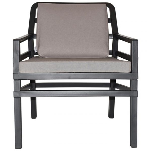 Aria Italian Made Commercial Grade Outdoor Armchair, Anthracite / Light Grey
