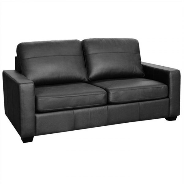 Astera Leather Sofa Bed with Innerspring Mattress, Black