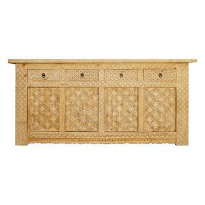 Auki Poplar Timber 4 Door 4 Drawer Sideboard, 185cm
