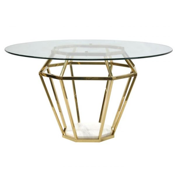 Avoca Glass & Metal Round Dining Table, 140cm