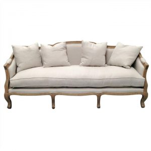 Balleroy Linen Upholstered Oak Timber 3 Seater Sofa, Oatmeal/Natural Oak