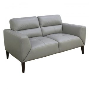 Bavaria Leather Sofa, 2 Seater, Silver