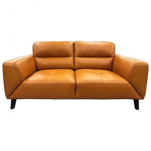 Bavaria Leather Sofa, 2 Seater, Tangerine