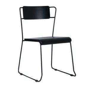 Bavleen Commercial Grade Steel Dining Chair, Black