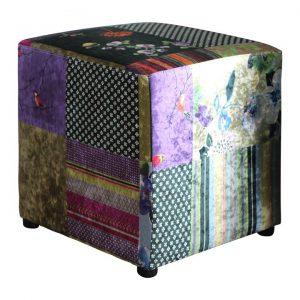 Becka Velvet Fabric Patchwork Ottoman, Pattern A