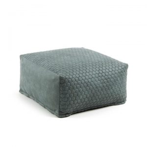 Bellavista Quilted Fabric Bean Bag Pouf, Turquoise