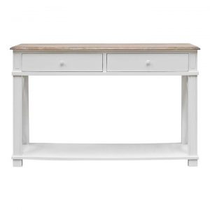 Belley Hand Crafted Mindi Wood Console Table with Shelf, 125cm, White / Weathered Oak