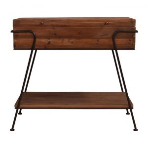 Belvoir Reclaimed Pine Timber & Metal Console Table, 84cm