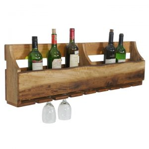 Blouin Mango Wood Wine & Glass Wall Rack, Large