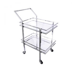 Blue Moon Glass & Metal Drinks Trolley