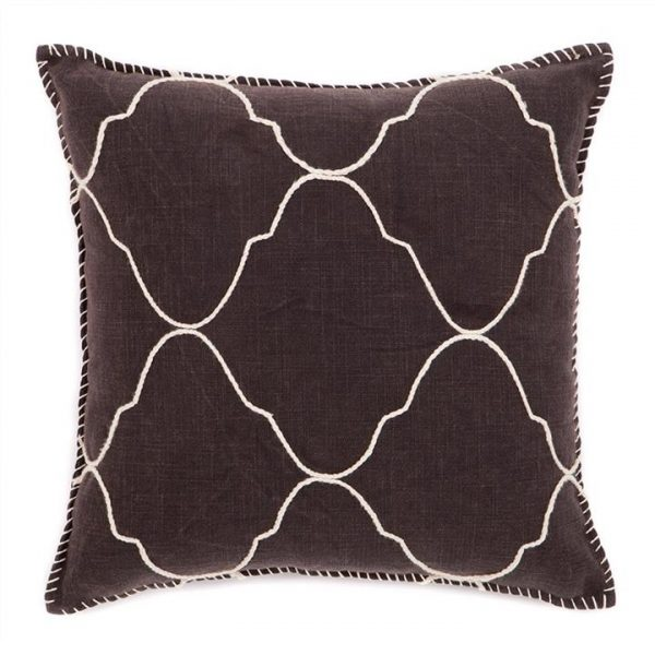 Brando Hand Embroidered Mosaic Cotton Scatter Cushion - Brown