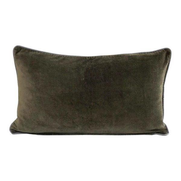Breakfast Velvet Lumbar Cushion, Olive