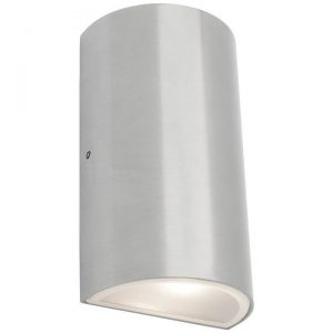 Brenton IP54 LED Outdoor Semi Round Up/Down Wall Light, Brushed Chrome