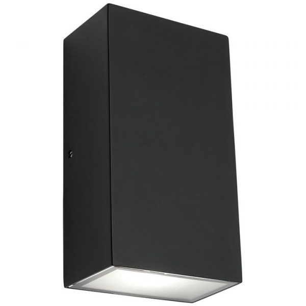 Brenton IP54 LED Outdoor Up / Down Wall Light, Square, Black