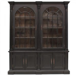 Brioude Hand Crafted Mahogany 2 Door Display Cabinet, Black