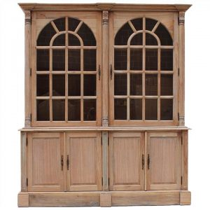 Brioude Hand Crafted Mindi Wood Timber 2 Door Display Cabinet, Weathered Oak