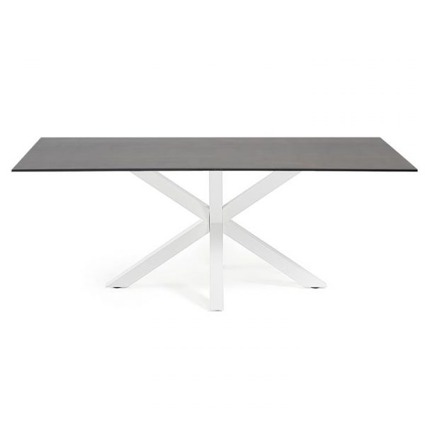 Bromley Ceramic Glass & Epoxy Steel Dining Table, 200cm, Iron Moss / White